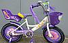 Детский двухколесный велосипед Azimut Girls 14 дюймов фиолетовый