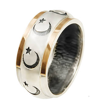 Серебряное кольцо с позолотой Стамбул 483к