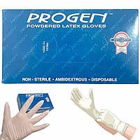 Одноразовые опудренные белые нестерильные латексные перчатки PROGEN (Medium, M размер), 100шт./уп.