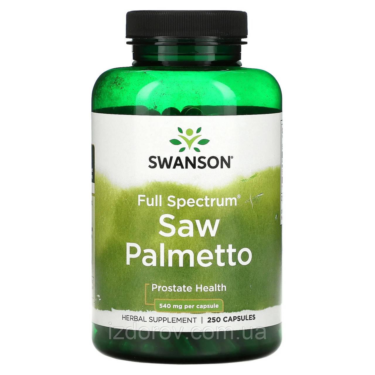 Swanson, Со пальметто, 540 мг, Saw Palmetto, для мужского здоровья, 250 капсул