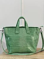 Салатовая женская сумка корзина шоппер сумочка строгая А4 на длинном ремешке сумка салатового цвета, фото 1