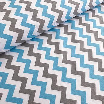 """Отрез тканиПольская хлопковая ткань """"Зигзаг серо-голубой на белом"""" 85*160см"""