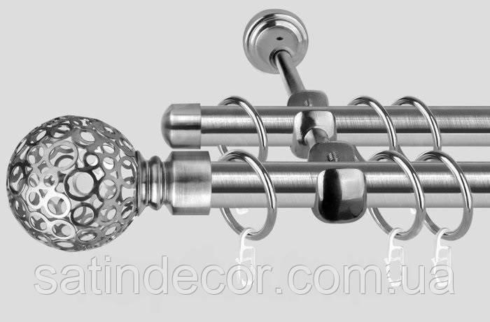Карниз для штор металевий САВОНА подвійний 19+19 мм 2.4 м Сталь