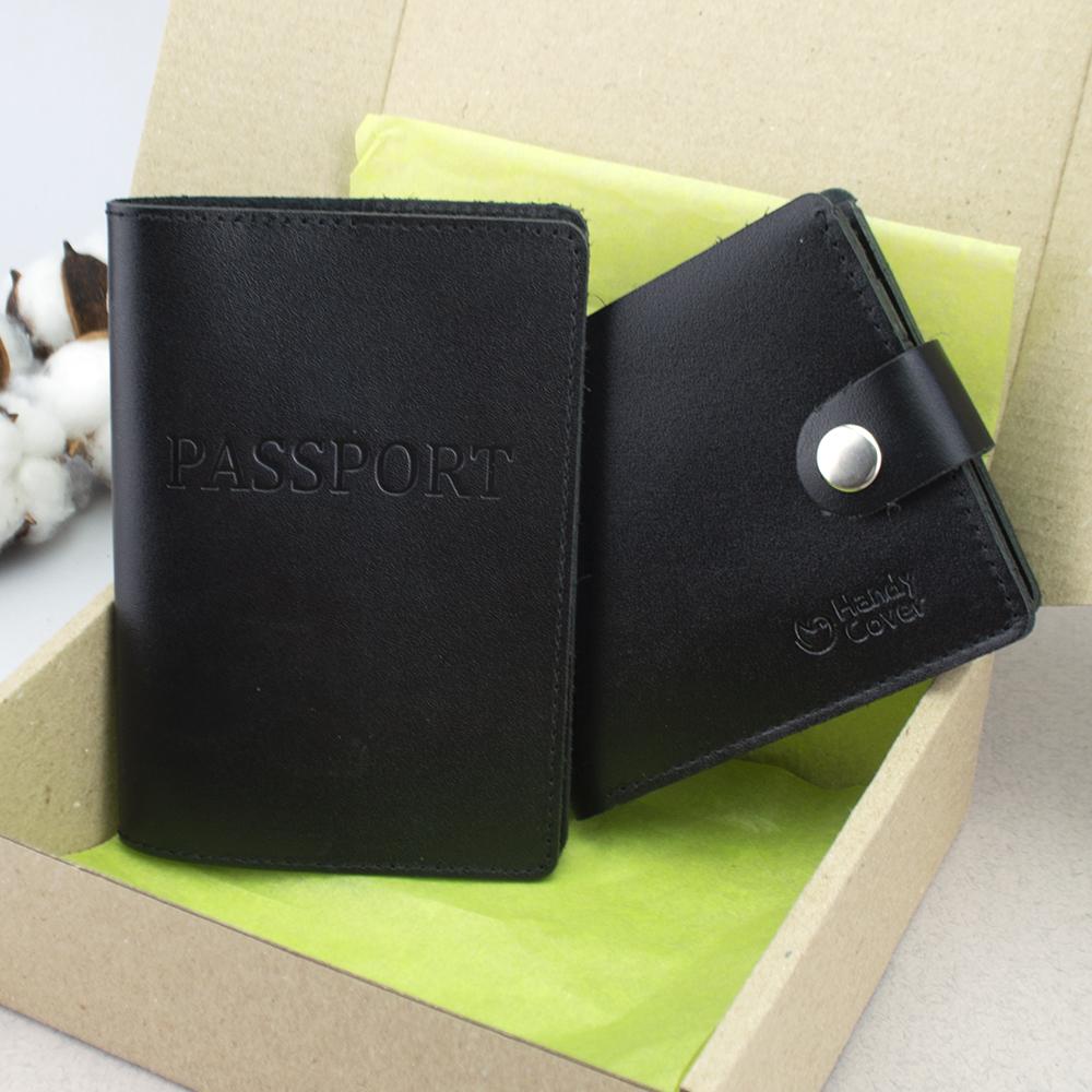 Подарочный мужской набор №56: обложка на паспорт + портмоне HC0042 (черный)