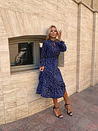 Сукня жіноча завдовжки нижче колін, з невеликим вирізом на грудях з регульованими зав'язками, фото 3