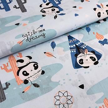 """Отрез ткани Польская хлопковая ткань """"Панды с вигвамами на голубом"""" 105*160cм"""