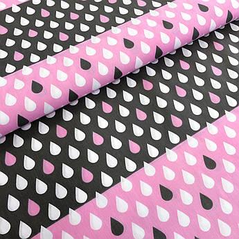 """Отрез ткани Польская хлопковая ткань """"капли серо-бело-розовые"""" 190*160см"""