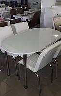 """Розкладний білий обідній кухонний комплект овальний стіл і стільці """"Без малюнка"""" ДСП гартоване скло 75*130 Лотос-М"""