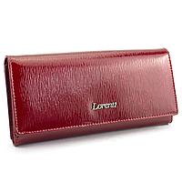 Жіночий шкіряний лаковий гаманець червоний  LORENTI 72037-SH red