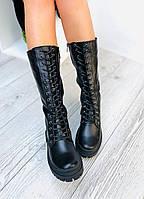 Жіночі шкіряні чоботи берци демисезон чорні