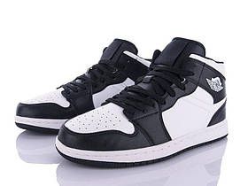 Мужские демисезонные черно/белые высокие кроссовки на шнуровке
