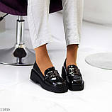 """Только 38 р! Туфли / броги женские черные  """"ЦЕПЬ"""" эко лак на платформе, фото 2"""