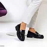 """Только 38 р! Туфли / броги женские черные  """"ЦЕПЬ"""" эко лак на платформе, фото 4"""