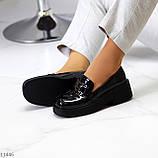 """Только 38 р! Туфли / броги женские черные  """"ЦЕПЬ"""" эко лак на платформе, фото 5"""