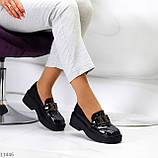 """Только 38 р! Туфли / броги женские черные  """"ЦЕПЬ"""" эко лак на платформе, фото 6"""