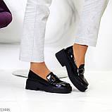 """Только 38 р! Туфли / броги женские черные  """"ЦЕПЬ"""" эко лак на платформе, фото 7"""