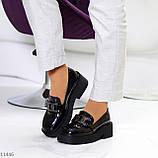 """Только 38 р! Туфли / броги женские черные  """"ЦЕПЬ"""" эко лак на платформе, фото 8"""