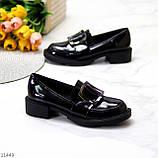 Жіночі туфлі чорні повсякденні з декором еко лак, фото 2