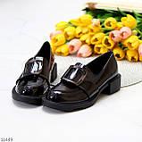 Жіночі туфлі чорні повсякденні з декором еко лак, фото 3