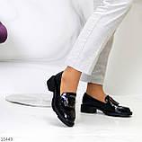 Жіночі туфлі чорні повсякденні з декором еко лак, фото 4