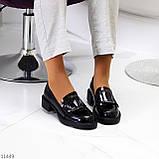 Жіночі туфлі чорні повсякденні з декором еко лак, фото 6