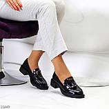 Жіночі туфлі чорні повсякденні з декором еко лак, фото 8