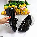 Жіночі туфлі чорні повсякденні з декором еко лак, фото 9