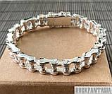 Срібний чоловічий браслет мото ланцюг, фото 3