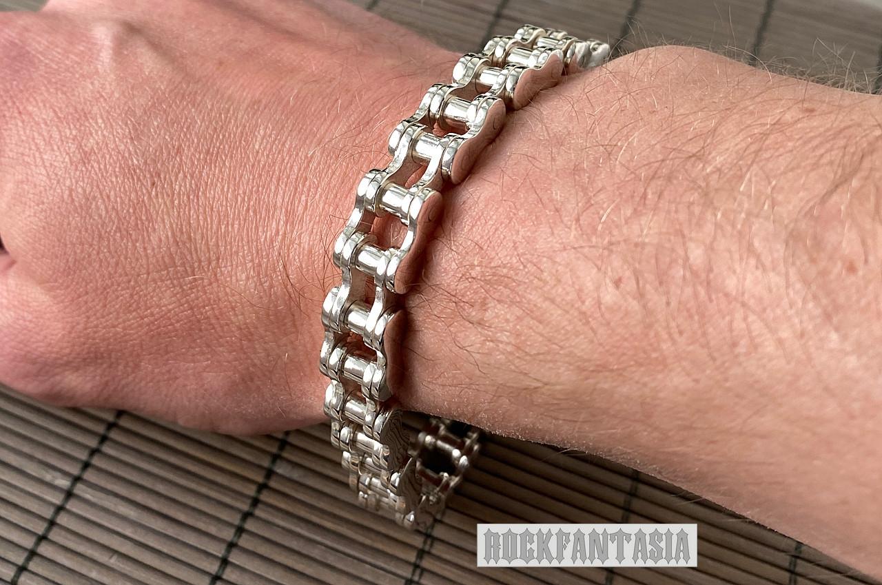 Срібний чоловічий браслет мото ланцюг