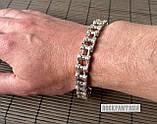Серебряный мужской браслет мото цепь, фото 4