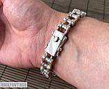 Срібний чоловічий браслет мото ланцюг, фото 7