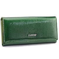 Жіночий шкіряний лаковий гаманець зелений LORENTI 72037-SH green