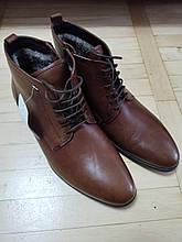 Мужские ботинки 39 размер кожаные, коричневые, стелька 25см