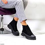 Женские ботинки весна-осень черные эко-замш, фото 2