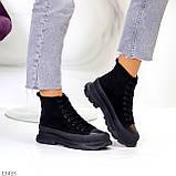Женские ботинки весна-осень черные эко-замш, фото 3
