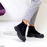 Женские ботинки весна-осень черные эко-замш, фото 4