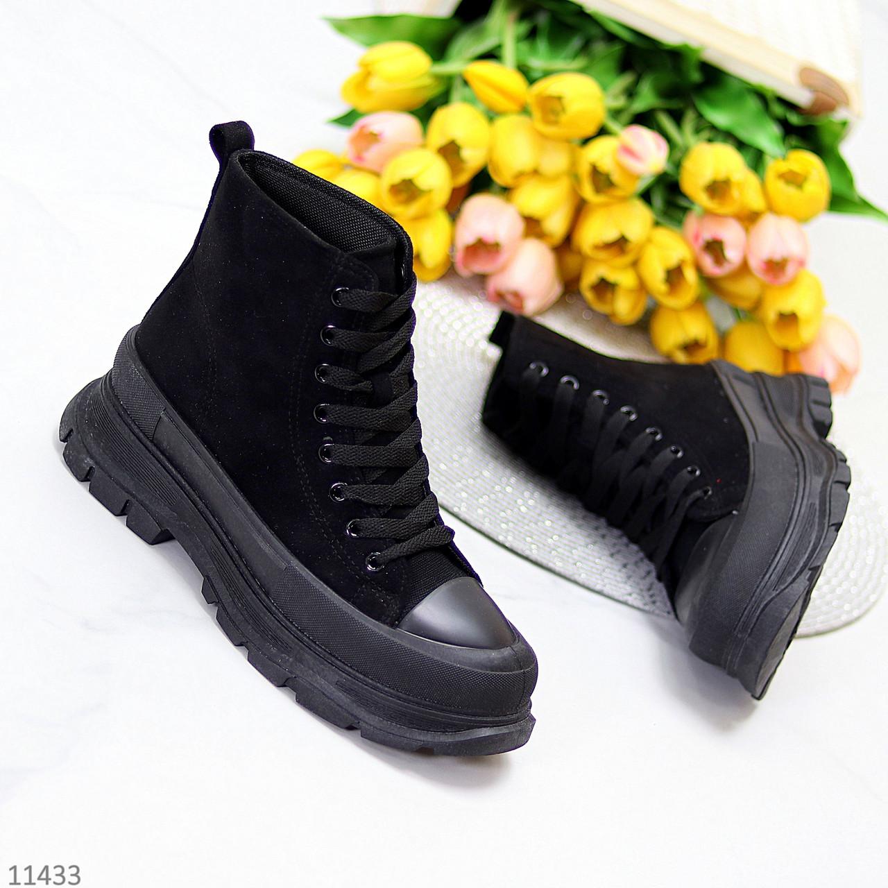 Женские ботинки весна-осень черные эко-замш