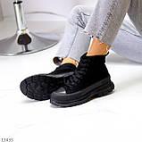 Женские ботинки весна-осень черные эко-замш, фото 5