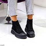 Женские ботинки весна-осень черные эко-замш, фото 6