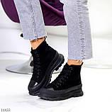 Женские ботинки весна-осень черные эко-замш, фото 7