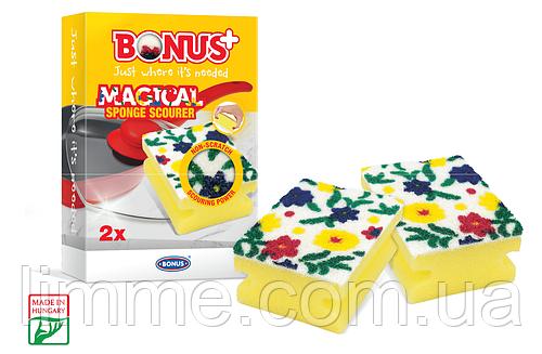 Губки для миття посуду Bonus+ Magical sponge scourer 1 упаковка / 2 шт