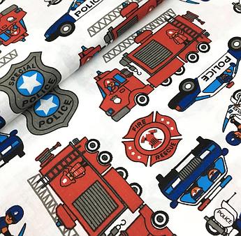 """Отрез ткани Польская хлопковая ткань """"пожарные и полицейские машинки на белом"""" 165*160см"""