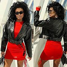 Жіноча куртка, еко-шкіра, р-р 42-44; 44-46 (чорний)