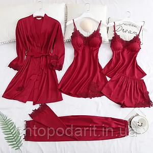 Піжама жіноча халат з пеньюаром комплект-набір 5 в 1 колір бордовий розмір XL Код 35-0017
