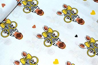 """Отрез ткани Польская хлопковая ткань """"зебра в жёлтых очках"""" 165*160см"""