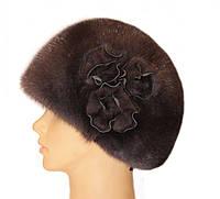 """норковая  шапка модель """"конфетка , три розы"""" цвет орех"""