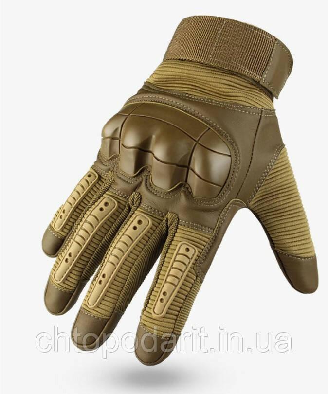 Перчатки мужские тактические спортивные военные штурмовые кожаные песочный койот XL код 33-0123