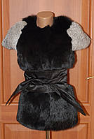 Женская жилетка с натурального меха кролика