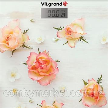 Ваги підлогові електронні 180 кг, 30х30 (Roses); термометр ViLgrand VFS-1832_Roses