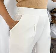 Брюки женские прямого кроя, с двумя карманами по бокам, талия на резинке, фото 2